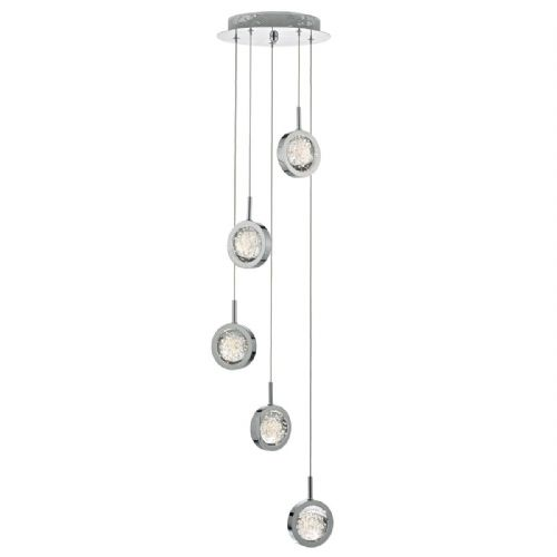 Livia 5 Light Cluster Pendant Polished Chrome Led